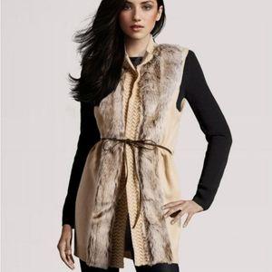 H&M Faux Fur Tie Belt Long Sweater Vest